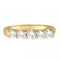 Five Stone Diamond Ring Anniversary Band 14k Yellow Gold (1.00ctw)