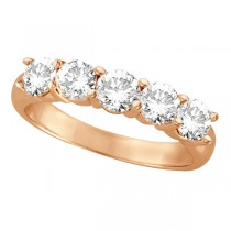 Five Stone Diamond Ring Anniversary Band 18k Rose Gold (1.50ct)