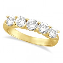 Five Stone Diamond Ring Anniversary Band 18k Yellow Gold (1.50ct)