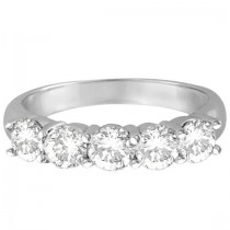 Five Stone Diamond Ring Anniversary Band Palladium (1.50ctw)