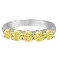 Five Stone Fancy Yellow Canary Diamond Anniversary Ring 14k White (1.50ct)