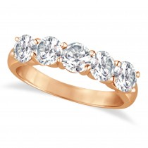 Five Stone Diamond Ring Anniversary Band 18k Rose Gold (2.00ct)