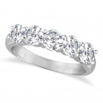 Five Stone Diamond Ring Anniversary Band 18k White Gold (2.00ct)