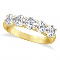 Five Stone Diamond Ring Anniversary Band 18k Yellow Gold (2.00ct)