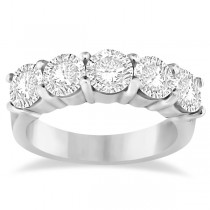 Five Stone Diamond Ring Anniversary Band 14k White Gold (2.50ctw)