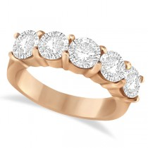 Five Stone Diamond Ring Anniversary Band 14k Rose Gold (3.00ctw)