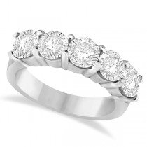 Five Stone Diamond Ring Anniversary Band 14k White Gold (3.00ctw)
