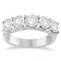 Five Stone Diamond Ring Anniversary Band 14k White Gold (3.00ctw)