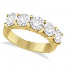 Five Stone Diamond Ring Anniversary Band 14k Yellow Gold (3.00 ctw)