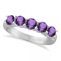 Five Stone Amethyst Ring 14k White Gold (2.20ctw)