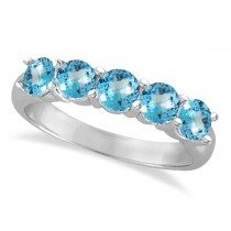 Five Stone Blue Topaz Ring 14k White Gold (2.20ctw)