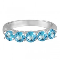 Five Stone Blue Topaz Ring 14k White Gold (2.20ctw)