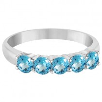 Five Stone Blue Topaz Ring 14k White Gold (1.60ctw)