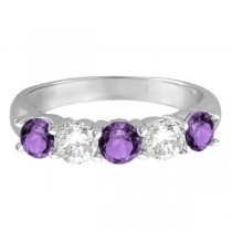 Five Stone Diamond and Amethyst Ring 14k White Gold (1.92ctw)|escape
