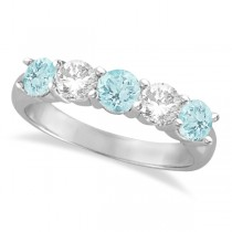 Five Stone Diamond and Aquamarine Ring 14k White Gold (1.92ctw)