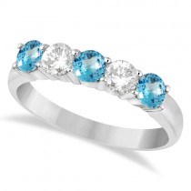 Five Stone Diamond and Blue Topaz Ring 14k White Gold (1.36ctw)