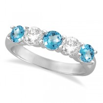 Five Stone Diamond and Blue Topaz Ring 14k White Gold (1.92ctw)