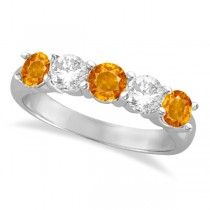 Five Stone Diamond and Citrine Ring 14k White Gold (1.92ctw)