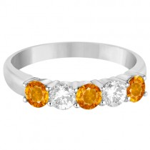 Five Stone Diamond and Citrine Ring 14k White Gold (1.36ctw)