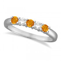 Five Stone Diamond and Citrine Ring 14k White Gold (0.67ctw)