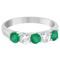 Five Stone Diamond and Emerald Ring 14k White Gold (1.08ctw)