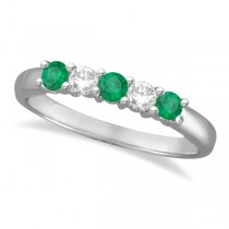 Five Stone Diamond and Emerald Ring 14k White Gold (0.55ctw)