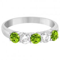 Five Stone Diamond and Peridot Ring 14k White Gold (1.36ctw)