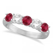 Five Stone Diamond and Ruby Ring 14k White Gold (1.95ctw)