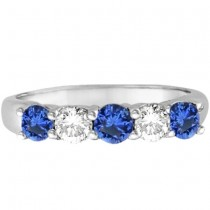 Five Stone Blue Sapphire & Diamond Ring 14k White Gold (1.00ctw)