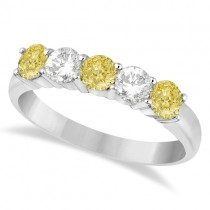 Five Stone White & Fancy Yellow Diamond Ring 14k White Gold (1.00ctw)