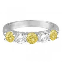 Five Stone White & Fancy Yellow Diamond Ring 14k White Gold (1.50ctw)