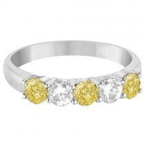 Five Stone White & Fancy Yellow Diamond Ring 14k White Gold (1.00ctw)