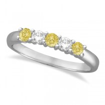 Five Stone White & Fancy Yellow Diamond Ring 14k White Gold (0.50ctw)