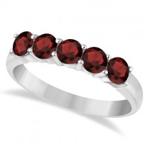 Five Stone Garnet Ring 14k White Gold (1.60ctw)