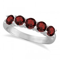 Five Stone Garnet Ring 14k White Gold (2.10ctw)