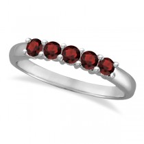 Five Stone Garnet Ring 14k White Gold (0.79ctw)