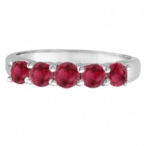 Five Stone Ruby Ring Anniversary Band 14k White Gold (1.70ctw)