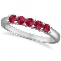 Five Stone Ruby Ring Anniversary Band 14k White Gold (0.60ctw)