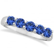 Five Stone Blue Sapphire Ring Band 14k White Gold (1.45ct)