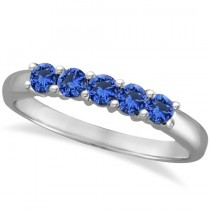 Five Stone Blue Sapphire Ring Band 14k White Gold (0.70ct)