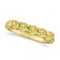 Five Stone Fancy Yellow Canary Diamond Anniversary Ring 14k Gold (1.00ct)