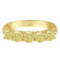 Five Stone Fancy Yellow Canary Diamond Anniversary Ring 14k (1.50ct)|escape