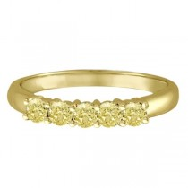 Five Stone Fancy Yellow Canary Diamond Anniversary Ring 14k Gold (0.50ct)