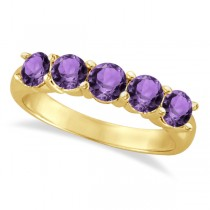 Five Stone Amethyst Ring 14k Yellow Gold (2.20ctw)