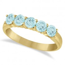 Five Stone Aquamarine Ring 14k Yellow Gold (1.60ctw)