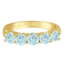 Five Stone Aquamarine Ring 14k Yellow Gold (2.20ctw)