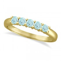 Five Stone Aquamarine Ring 14k Yellow Gold (0.79ctw)