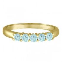 Five Stone Aquamarine Ring 14k Yellow Gold (0.79ctw)