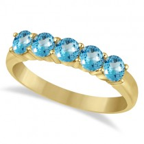 Five Stone Blue Topaz Ring 14k Yellow Gold (1.60ctw)