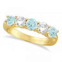 Five Stone Diamond and Aquamarine Ring 14k Yellow Gold (1.92ctw)